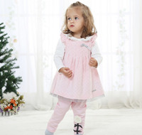 Cheap 4 Set lot + New Arrivals 2014 Baby Girl Clothing Dotted Ventilate Corduroy Beautiful Sweet Dress Leisure Suit Outfits For Spring Autumn