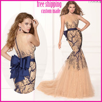 Reference Images V-Neck Chiffon 2014 New Charming See Through Crew Neck Prom Dresses Embroidery Handmade Button Back With Bow Mermaid Tulle Evening Dress Formal Gown
