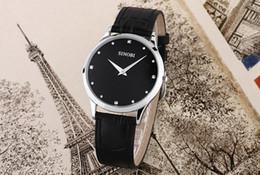 Wholesale Luxury SINOBI Leather Strap Display Water Resistant Waterproof Wristwatch Black White Brown Quartz Analog Men s Sport Wrist Watch best price