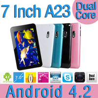 Wholesale 7 Inch Dual core Android A23 A20 Tablet Pc GB MB Allwinner Cortex A8 Ghz Wifi Camera Google playstore
