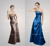 2014 long Mother of Bride Dresses chocolate royal blue strap...