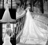 Cheap Charming 2014 Berta Bridal Dresses High Neck Sheer Long Sleeves Backless Mermaid Cathedral Train White Lace Wedding Gowns