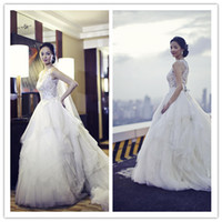 Wholesale QM New Amazing Luxury Bling Bridal Gowns Sexy Crew Appliques Beads See Through Corset Puffy Sweep Train Church Castle Wedding Dresses