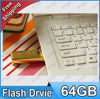 Wholesale DHL GB Gold bar USB Flash Memory Pen Drives Sticks Disks GB Pendrives Thumbdrives