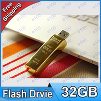 Wholesale 50pcs DHL GB Gold bar USB Flash Memory Pen Drives Sticks Disks Pendrives Thumbdrives AG072