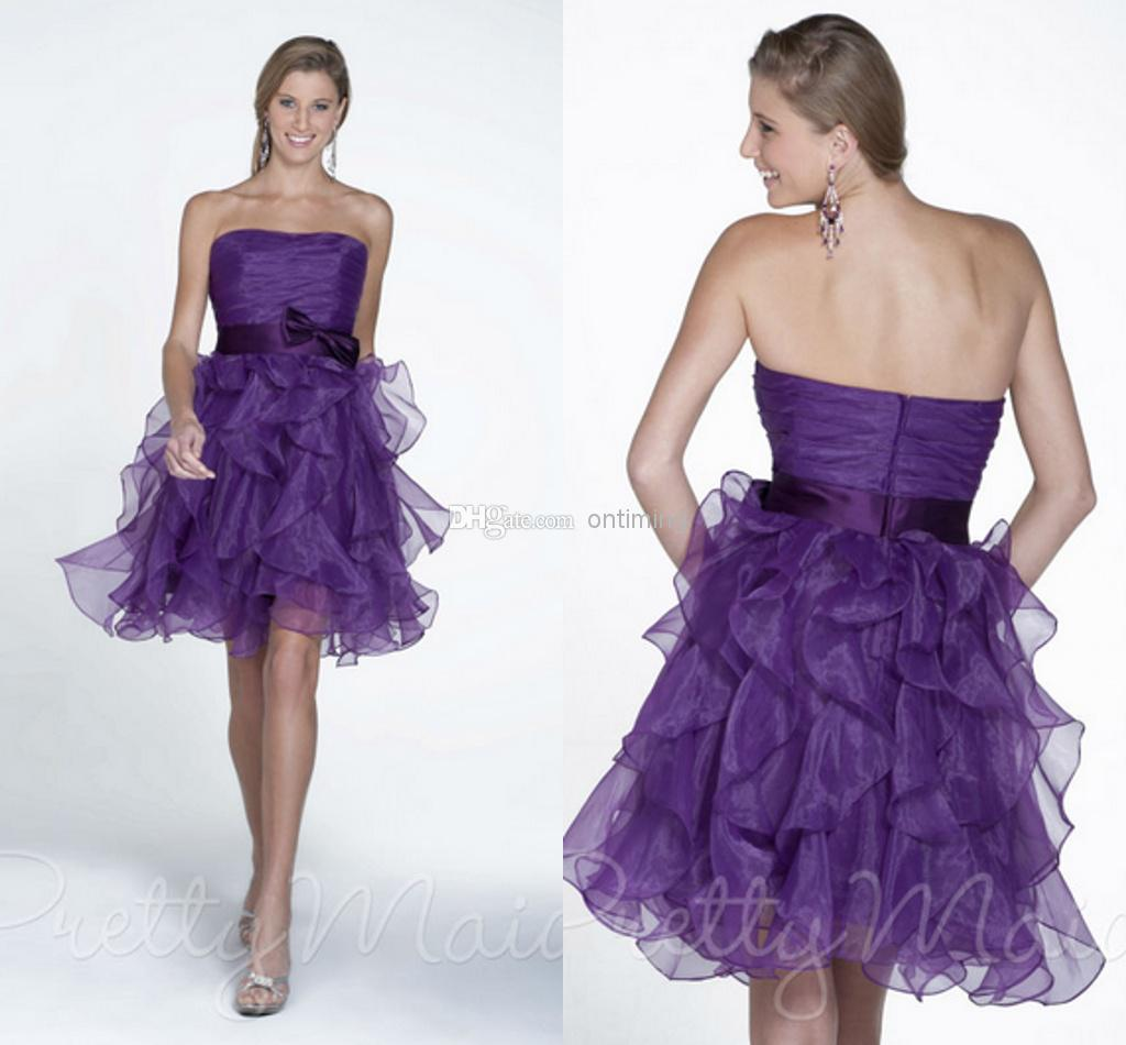 ZM Purple Discount Bridesmaid Dresses With Bow Knot Sash