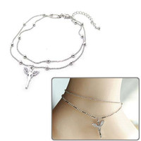 Wholesale S5Q New Fashion Jewelry South Korea Beautiful Angel Double Graceful Ankle Chain AAAAZZ