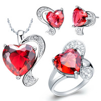 Wholesale Heart of Ocean K Platinum Plated Elegant Wedding Jewelry Necklace Ring Earrings Set with Red Austrian Crystals