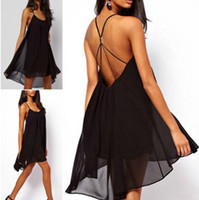 metal cross - Summer Women fashion Sexy back fine cross strap metal buckle solid color cocktail dresses sleeveless chiffon casual dresses k34