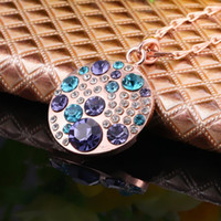 swarovski - NEW High quality K gold plated rhinestone stone Gem Austrian crystal Swarovski Elements charm pretty round pendant Necklace