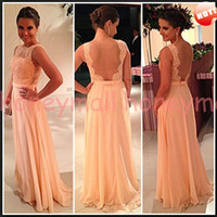 Cheap 2014 Evening Dresses Hot Sexy A-line High Neck Sheer Backless Floor Length Lace Appliques Chiffon Evening Gowns Fabulous Free Shipping B584