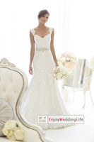 Wholesale 2014 New Sexy Cap Sleeves Lace Mermaid Wedding Dresses Applique Beaded Waistband Court Train Bridal Gowns d1617