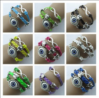 Wholesale Silver Alloy Infinity Evil Eye Fox Charm Bracelet Handmade Leather Friendship Bracelet Wrap Multilayer Wristbands Colors ZM1