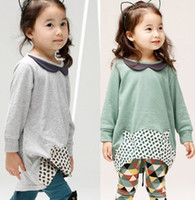 Wholesale New Spring Girls Sets Children Clothing Long Sleeve Cow Calf Shirt Chinel Printing Pants Set Kids New Clothes Gray Green C0989