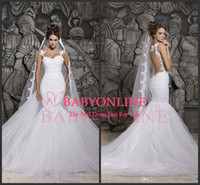 Wholesale berta bridal Sexy Luxury Backless Lace Sheer Tulle Mermaid Wedding Dresses with Covered Button Spaghetti Straps Winter Bridal Gown BO1638