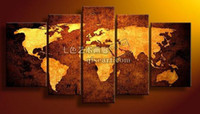 Cheap Free shipping pictures decor 5 piece oil painting on canvas modern world map art picture for living room framed art
