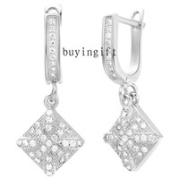 Dangle & Chandelier Silver Bohemian Fashion charms 925 silver earrings Top quality Jewelry exquisite square Swarovski Elements crystal Push backing Push Free shipping