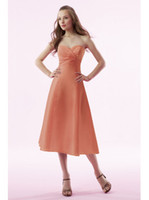 New Style - - Orange Satin Asymmetrical Draped Bodice Bowtie D...