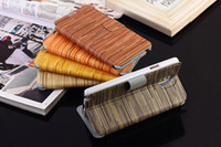 Wholesale New Stand PU Leather Cover Case Wooden grain lines Case with Card Holder Wallet for Samsung Galaxy Note Note3 N9000 DHL Freeshiping