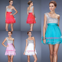 Wholesale 2014 Top Selling Cheap Cocktail Dresses Sexy One Shoulder Sequins Crystals Chiffon A Line Mini Short Prom Party Homecoming Gowns LF
