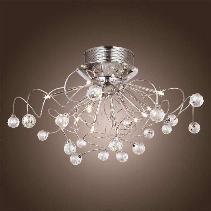 modern crystal led chandelier ceiling light fixture. Black Bedroom Furniture Sets. Home Design Ideas
