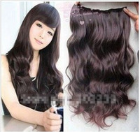 Wholesale Dark Brown Hair Extension Women s Long Curl Curly Wavy Clips On sexy stylish W002