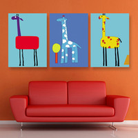 Yes No Spray Painting Free shipping 3 Pieces Modern Wall Painting Giraffe Painting For Kid Home Decorative Art Picture Paint on Canvas Prints