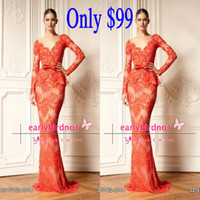 Wholesale Only zuhair murad Long Sleeve Prom Dresses V Neck Applique Lace Tiered Mermaid Red Vintage Glitz Formal Evening Gowns