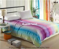 100% Acrylic flannel sheets - Rainbow Fleece Fabric Blanket Flannel Blanket Queen Flannel Sheet