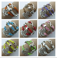 Wholesale Friendship lAlloy Silver Rose Music Infinity Charm Colorful Leather Suede Cuff Bracelet Wrap Multilayer Wristbands Bracelet Jewelry ZM2