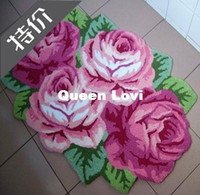 100% Acrylic Embroidered Bedroom Unique Handmade embroidery rose flower shaped area rugs door mats carpet ,flower painting beautiful bedroom mat, bath mat