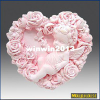 Cake Tools Moulds  wholesale 3D Handmade soap silicone mold heart shaped baby flower molds rose angel candle mould Candy moulds,