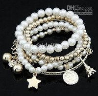 Beaded, Strands bangle tower - Charming Multilayer Pearl Star Ctystal Coin Beads Eiffel Tower Bangle Cuff Bracelet set women s
