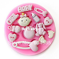 Wholesale Mini Baby shower F0486 Fondant Mold Silicone Sugar mold Craft Molds DIY gumpaste flowers Cake Decorating
