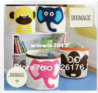 bathroom wardrobes - Bathroom Baby Toy Storage Bag Waterproof Wardrobe Canvas Collapsible Animal Shaped Toy Clothes Bucket Pouch