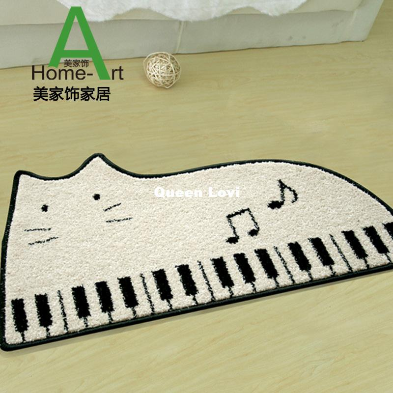 Grand Piano Cartoon Black And White Cartoon Cat Piano Child Bedroom Carpet Black White Stripe Bedroom Floor Mats