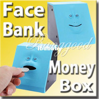 Wholesale Blue Swallowing Expression Changing Dynamic Eating Face Money Coin Bank Saving Saver Box Sensor Cute Piggy Kid Children Toy Gift