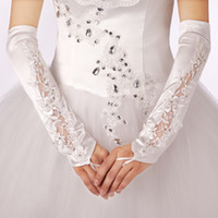 Wholesale New Bridal accessories gloves Above Elbow Length Fingerless satin Beaded Bowknot bridal gloves wedding gloves NewYear