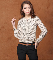 Wholesale Fashion Women Polka Dot Chiffon Blouse Stand Collar Long Sleeve