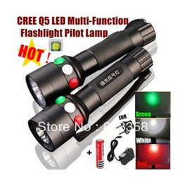 CREE Q5 LED signal light Green White Red LED Flashlight Torch Bright light signal lamp + 1x18650 Battery   Charger