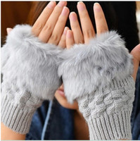 Wholesale Hot now free ship with track numberFashion Winter Arm Warmer Fingerless Gloves Knitted Fur Trim Gloves Mitten