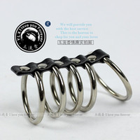 Steel Penis Rings  Wholesale - Hot Stainless steel Cocking Penis five Ring metal Sex Toy Product Supply testicles ring sex products