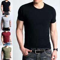 lycra t shirt - Mens T shirt Slim Fit Basic Tee GYM Sports Tee Short Sleeve High Stretch Lycra