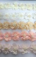 Trims pearl trim - Beaded Pearl Flower Chiffon Trim Petal Lace Wedding Bridal Women Girls Baby Hair Accessories Clips Headbands