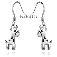 Dangle & Chandelier beautiful giraffe - Fashion Trend charms silver earrings Beautiful Jewelry Epoxy Black Cute little giraffe Pendant earrings holiday gifts