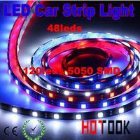 Holiday SMD 3528 Yes 120cm LED light Strips Car 5050 smd tira truck 48LED flexible lighting lamps vehicle daytime running lights 12V CE RoHS x 100pcs