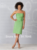Reference Images Sleeveless Scoop 2014 New Arrival Fashion Modest Sheath Knee Length Lime Mint Green Short Bridesmaid Dresses