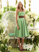Reference Images Sleeveless Sweetheart 2014 New Arrival Fashion Modest A Line Knee Length Sweetheart Sash Lime Green Long Bridesmaid Dresses