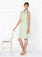 Reference Images Sleeveless Halter 2014 New Arrival Fashion Modest A Line Knee Length Lime Mint Green Short Chiffon Bridesmaid Dresses