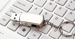 Wholesale Metal Keyring Swivel GB GB GB Memory Stick Drive Storage USB Silver Tone Key Ring Custom LOGO Blister Packaging